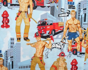 """Firemen Fabric, Ready for Action, Alexander Henry, Pin Up Men, Firemen Hunks, Over Sized, 34"""" by 44"""",  Cotton Fabric"""