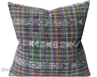 Guatemalan Pillow Cover - Ikat - DecorativeThrow Pillow - 20X20 - vintage Guatemalan - Bohemian - Global - ready to ship