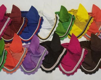 New Horse Fly Veil Ear Bonnet 9 Colors with double piping Net Breathable Cotton Full/Cob/Pony