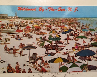 Vintage Postcard Wildwood by the Sea N J Bathing Beach North of 16th St North Wlidwood New Jersey
