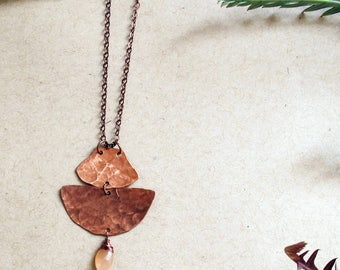 Vista Necklace - Copper and Peach Moonstone Necklace - Empowering Jewelry - Rose, Pink, Blush, Peach, Copper Necklace