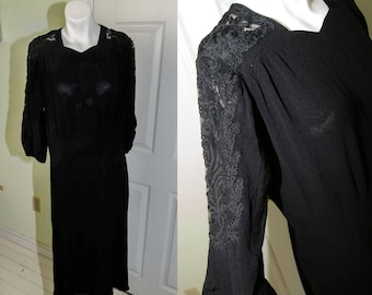 Vintage 1940's Woman's Black Crepe Cutaway Dress with Soutache Embroidery