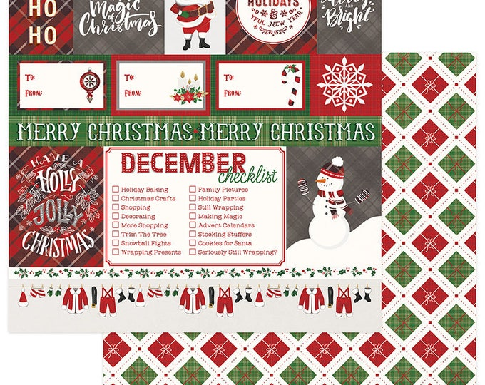 2 Sheets of Photo Play Paper MAD 4 PLAID CHRISTMAS 12x12 Scrapbook Cardstock - Ho Ho Ho