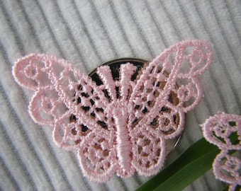 50pc Venice BUTTERFLY~ Appliques Pink Bridal/Wedding ~Scrapbooking ~Baby/Doll