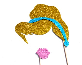Princess Photo Booth Props - 2 piece set - GLITTER Props - Birthdays, Weddings, Parties - Photobooth Props