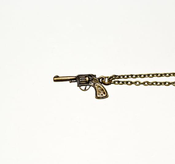 Gun Necklace, Pistol Pendant, Revolver Necklace, Gun Charm, Bronze Charm, Simple Necklace, Everyday Jewelry, Gun Jewelry, Handgun Necklace