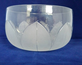 Glass bowl etched leaves