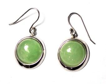 "Sterling Silver Round Green Jade Dangle Earrings 1 1/4"""