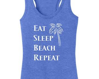 Eat Sleep Beach Repeat Women's Racerback Tanktop Funny Graphic Vacation Palmtree