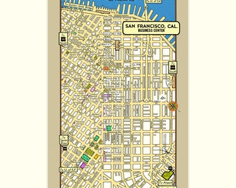 San Francisco POSTCARD 6-Pack Vintage 1950s City Map Theaters Hotels Stores Government