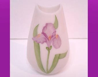 Rare Fenton Hand Painted Milk Glass Vase