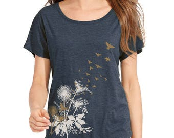 Dandelions T-Shirt, Birds in Flight, Dolman sleeve, relaxed t-shirt, Gift for Her, Art T-shirt
