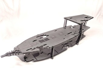 Large 3-Level Ghost Ship with 1 Inch Square Grid for Tabletop RPGs, Laser Cut Acrylic