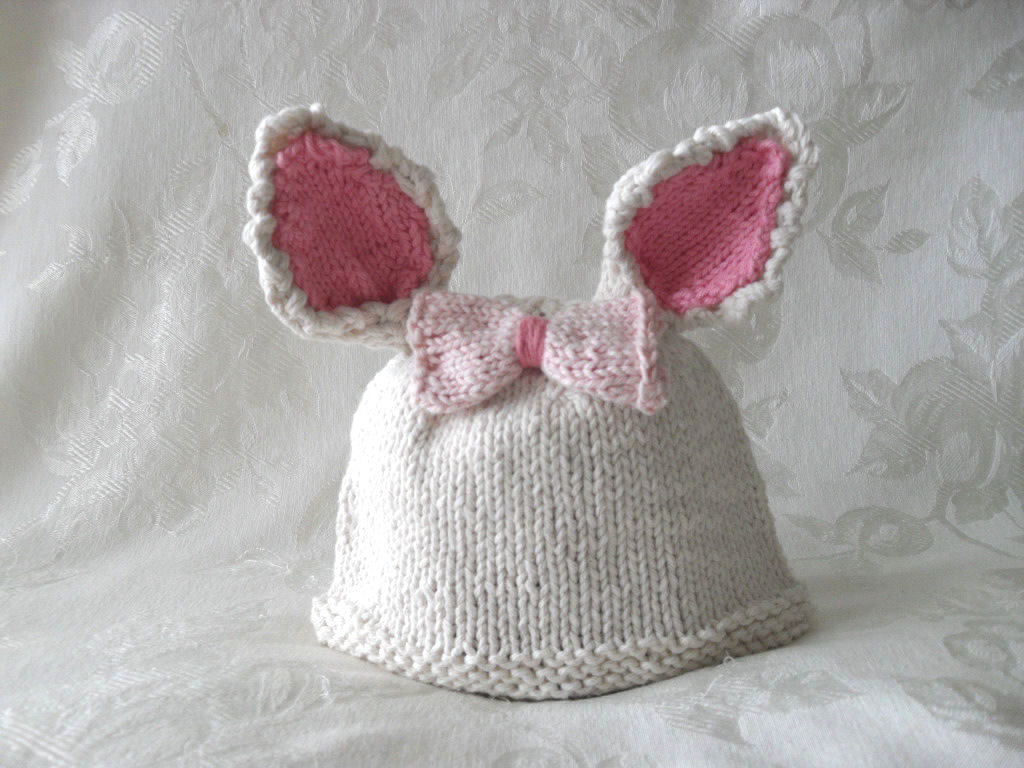 Knitting Pattern Rabbit Hat : Knitted hat pattern baby newborn easter