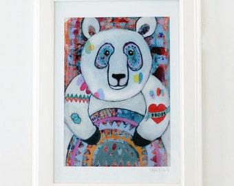 Tattooed Panda,  Art Print, Wall Decor, Kids Art, Nursery Decor, Wall Art, Colorful Art, Quirky Art, Art Gift, Choose from 3 different sizes