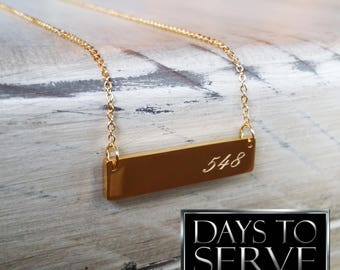 LDS Missionary Gift, Gold Plated 548 Days to Serve Bar Necklace, Sister Missionary Bar Necklace