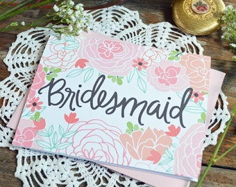 Bridesmaid Card, Wedding Party Card, Floral Wedding, Thank You Card, Greeting Card, Notecard, Floral Notecards, Bridal Party, Note Card