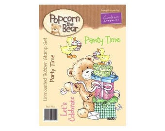 Popcorn the Bear Birthday Collection Party Time Stamp Set - Crafter's Companion