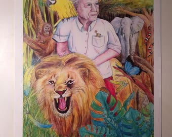 David Attenborough Riding a Lion (A4)