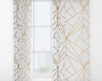 Geometric Gold Pattern Window Curtains, Bohemian Curtains, Gold Window Curtains, Gold Stripes Curtains, Gold Geometric Curtains, Boho Wondow