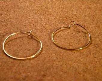 4 brackets rings / hoop earrings gold plated 25 mm N ° 8