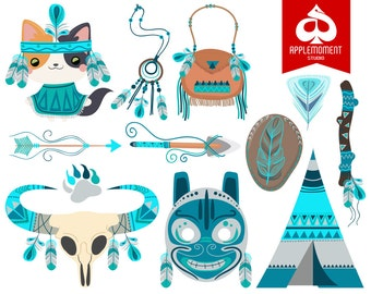 Cat Indian or Native American Version Five Digital Clipart for Personal and Commercial Use