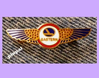 Eastern Airlines Pilot Wings Brooch Pin ~ miniature size ~ '80's Vintage Cloisonne on brass