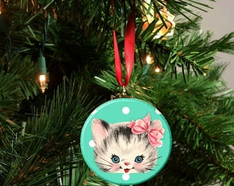 """Teal Blue Polka Dot Vintage Cat with bow Image Christmas Tree 2.25"""" Ornament"""