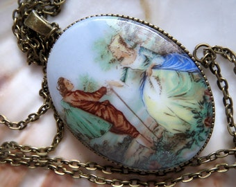 Mother's Day-gift-vintage-cabochon-old and new-2-sided wearable-very long necklace with Rococo Baroque Cabochonaus the Sixties-shabby