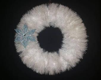 Winter Wreath, Holiday, Solstice, Door Hanger, Wall Hanging, Sparkling White, Tinsel, Garland, Christmas, Snow, Housewarming
