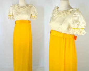 1970s Ivory and Yellow Empire Waist Maxi Prom, Bridesmaid Dress, Full Length Gown
