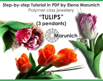 "Polymer clay tutorial ""Tulips: 3 pendants"" PDF"
