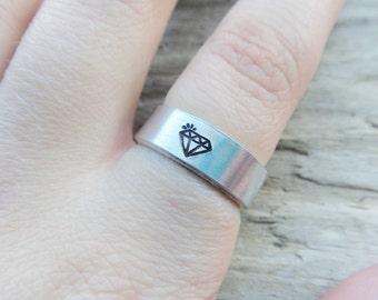 Diamond Metal Ring- Faux Diamond Stamp Thick Wrap Ring- Stamped Crystal Ring- Adjustable Aluminum Silver Stamped