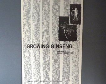 Growing Ginseng, Farmer's Bulletin, Vintage U.S. Department of Agriculture Booklet, Collectors Booklet