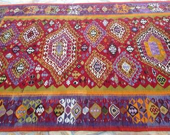 """GORGEOUS kilim rug, 141"""" x 78.5"""", Kilim rug, large kilim, Oversize Kilim rug, purple rug, rugs, Vintage Turkish kilim rug, large kilim, 702"""