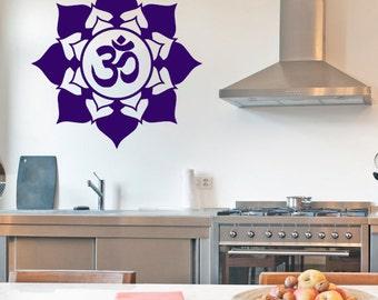 Om Flower Vinyl Wall Decal | mandala, lotus seed, Sacred geometry, sticker art, rainbow Holographic