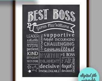 Boss Gift, Best Boss Chalkboard Printable, Boss Christmas, Boss Appreciation Gift, Unique Boss Gift, Personalized Digital File