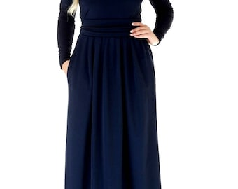 Navy Blue Maxi Dress/ Long Sleeves Party Dress With Pleats Pockets Sash