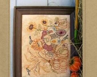 """Fall Scarecrow Stitchery Pattern """"Scarecrow in Wheelbarrow"""" by Bird Brain Designs 12 x 24"""""""