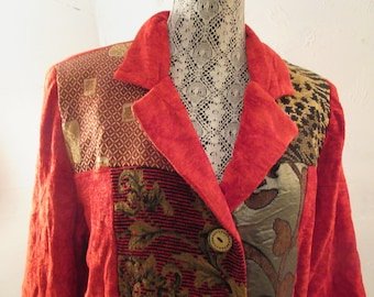 patchwork style jacket, red, 80's vintage, brocade, tapestry, soft chenille, size M, made in India, Boho, casual fun, excellent condition