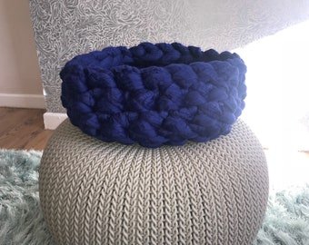 Bright Navy/Royal Blue Pet bed/ Cat/Dog/pet/ hand crocheted/Seconds/Sold as seen
