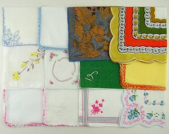 Vintage Hanky Lot,Vintage Lot of Handkerchiefs,One Dozen Assorted Vintage Hankies (Lot #S11)