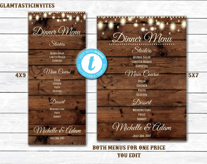 Finest Welcome Cards and Menus - GlamtasticInvites RD64