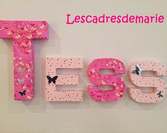 LETTERS DECORATIVE CUSTOMIZED WITH THE NAMES OF CHILDREN
