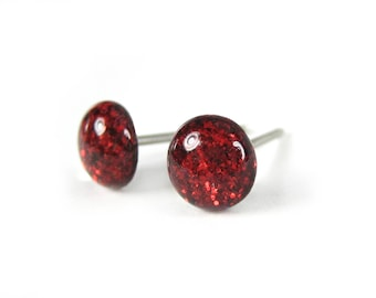 Victorian Red Glitter Stud Earrings, Resin Earrings, Hypoallergenic, Tiny Red Studs, Small Post Earrings, Pure Titanium, Surgical Steel