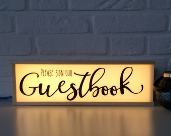 Please sign our guestbook sign - lighted sign guestbook - wedding decor - guestbook table decor - guest book sign - wedding sign -
