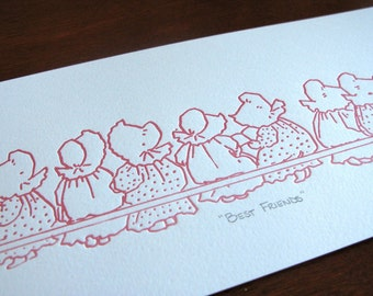 Best Friends - Sunbonnet Babies Limited Edition Letterpress Print
