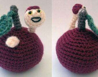 Apple with worm - Amigurumi Crochet