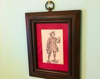 Original Signed Framed Art - Town Crier - Ink Drawing Signed - Historical Art