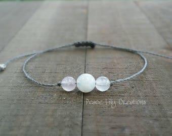 LATE SHIP moonstone and rose quartz string bracelet healing bracelet minimalist jewelry chakra bracelet yoga jewelry energy bracelet
